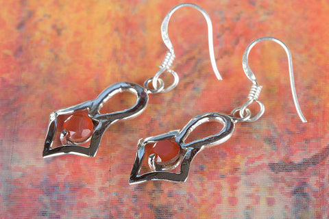 Faceted Carnelian Gemstone Sterling Silver Earring