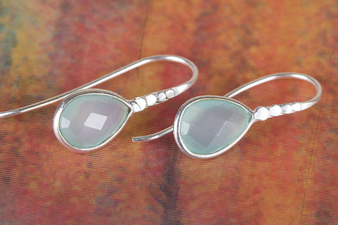 Amazing Faceted Aqua Chalcedony Gemstone Silver Earring