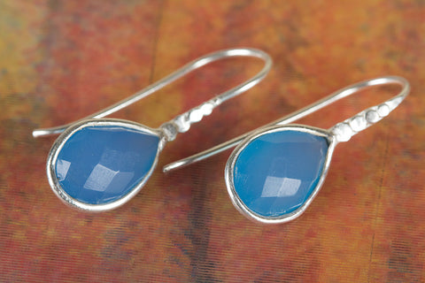 Amazing Faceted Blue Chalcedony Gemstone Silver Earring