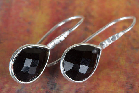 Amazing Faceted Black Onyx Gemstone Silver Earring