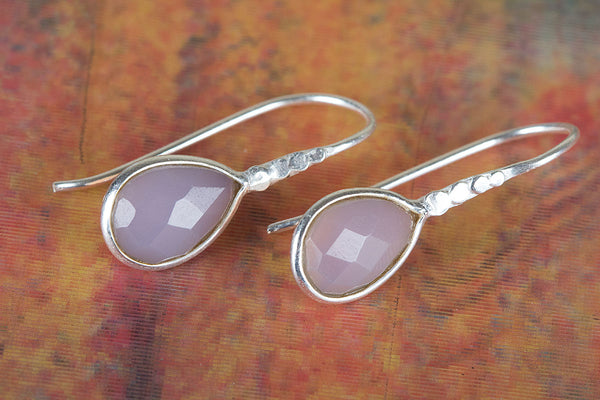 Amazing Faceted Rose Quartz Gemstone Silver Earring