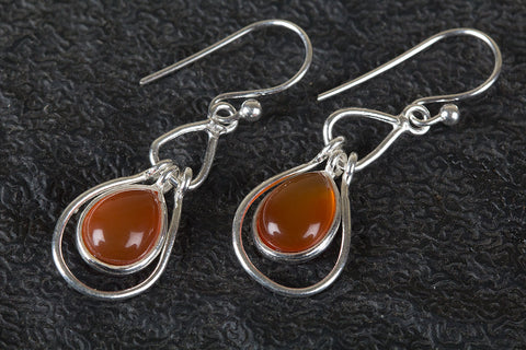 Beautiful Carnelian Gemstone Silver Earring