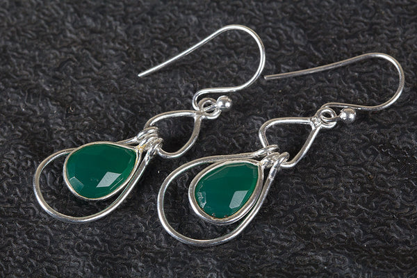 Beautiful Faceted Green Onyx Gemstone Silver Earring