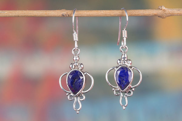 Blue Sapphire Earrings, Sterling Silver, Sapphire Gemstone Jewelry, Blue Cabochon Earrings, September Birthstone, Birthday Gift for Her