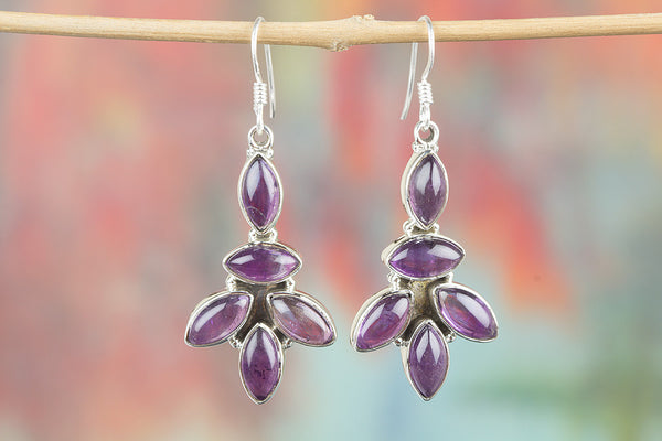 Amethyst Gemstone Sterling Silver Earring