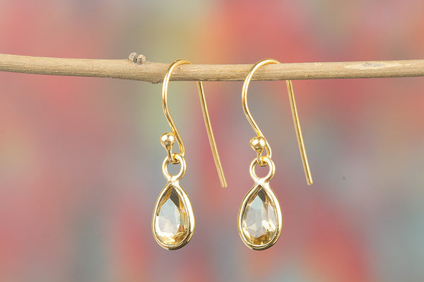 Faceted Citrine Gemstone Sterling Silver Earring