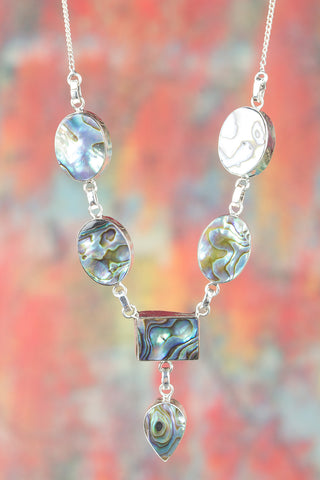Abalone Shell Gemstone Sterling Silver Necklace