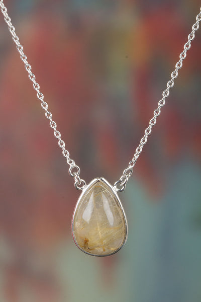 Beautiful Golden Rutile Gemstone Sterling Silver Necklace