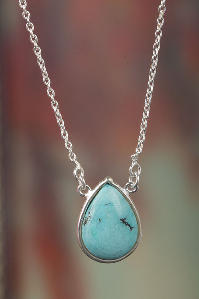 Amazing Natural Turquoise Gemstone Sterling Silver Necklace