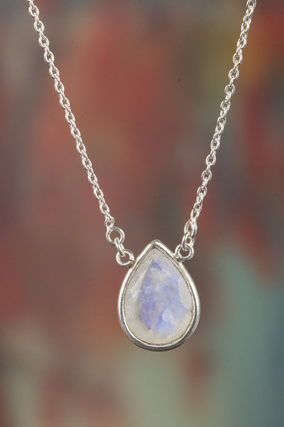 Amazing Rainbow Moonstone Sterling Silver Necklace