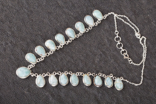 Beautiful Larimar Gemstone Sterling Silver Necklace