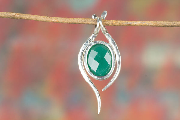 Faceted Green Onyx Gemstone Sterling Silver Pendant