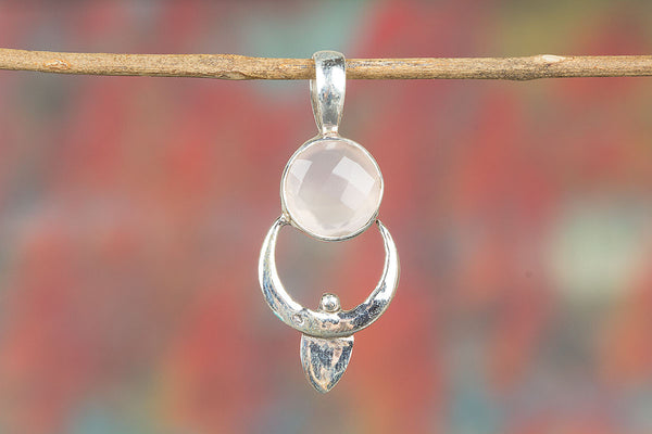 Faceted Rose Quartz Gemstone Sterling Silver Pendant