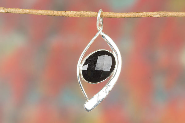 Silver Handmade Faceted Black Onyx Gemstone Pendant