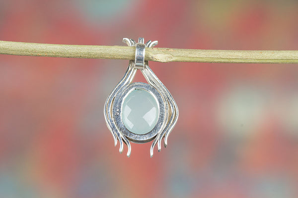 Silver Handmade Faceted Aqua Chalcedony Gemstone Pendant