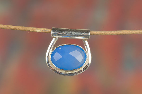 Faceted Blue Chalcedony Gemstone Sterling Silver Pendant