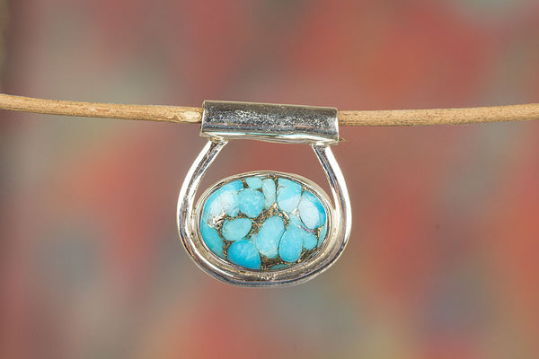 Silver Handmade Blue Copper Turquoise Gemstone Pendan