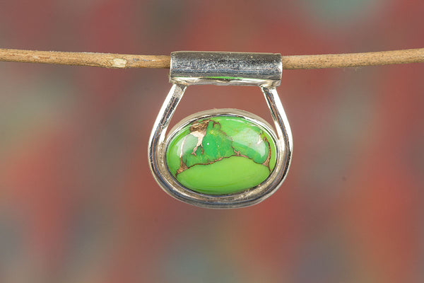 Silver Handmade Green Copper Turquoise Gemstone Pendant