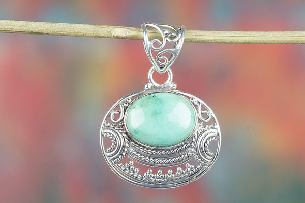 Natural Turquoise Gemstone Silver Pendant