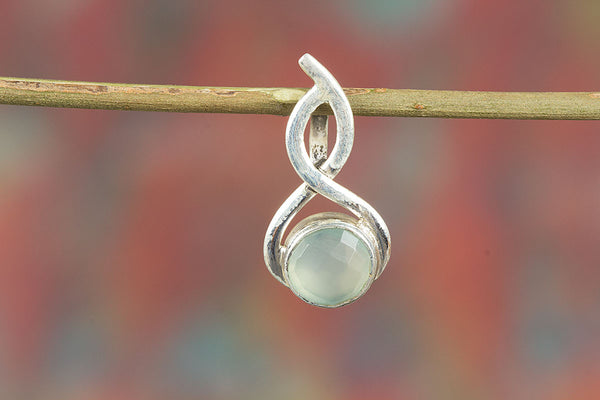 Faceted Aqua Chalcedony Gemstone & Pure Sterling Silver Pendant