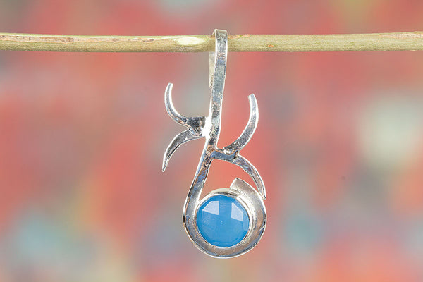 Silver Handmade Faceted Blue Chalcedony  Gemstone Pendant