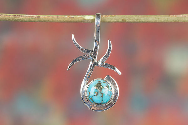 Silver Handmade Blue Copper Turquoise Gemstone Pendant