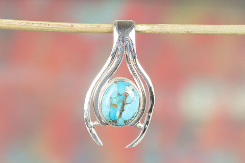 Blue Copper turquoise pendant, 925 sterling Silver, Delicate Pendant, Attract Pendant, Eye Catch Pendant, Vintage Pendant, Gift Wife