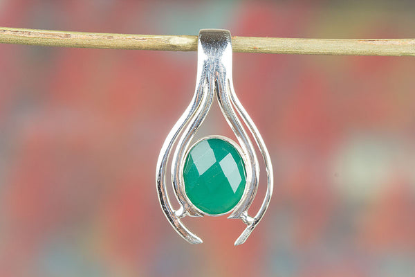 Rare Faceted Green Onyx Gemstone Sterling Silver Pendant