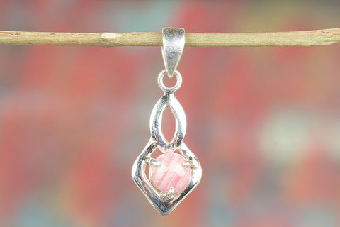 Beautiful Handmade Rhodochrosite Silver Gemstone Pendant