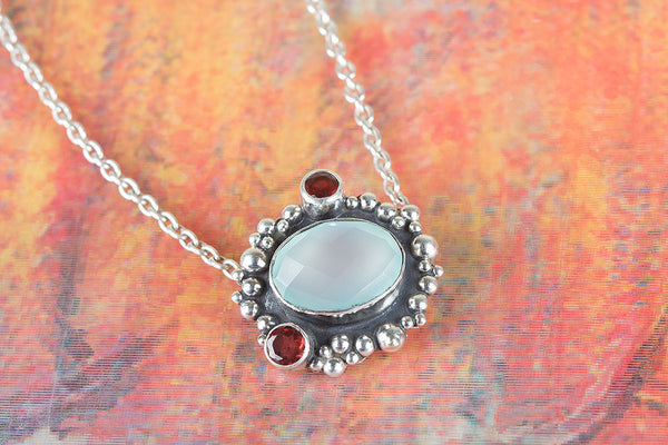 Beautiful Handmade Faceted Aqua Chalcedony Gemstone Silver Pendant