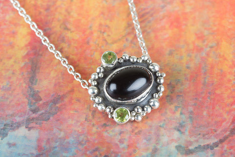 Wonderful Handmade Black Onyx Gemstone Silver Pendant