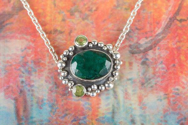 Beautiful Handmade Emerald Gemstone Silver  Pendant