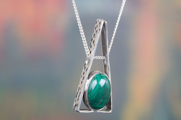 Natural Malachite Gemstone Silver Pendant