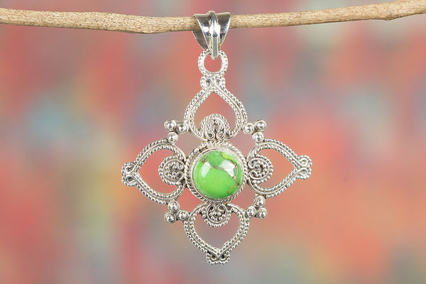 Green Copper Turquoise Gemstone Sterling Silver Pendant