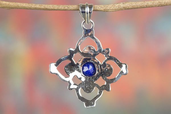 Sapphire Gemstone Sterling Silver Pendant