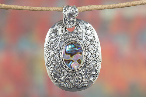 Iridescent Abalone Shell 925 Silver Handcrafted Pendant, Abalone Jewelry