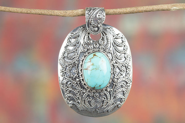 Natural Turquoise Gemstone Sterling Silver Pendant