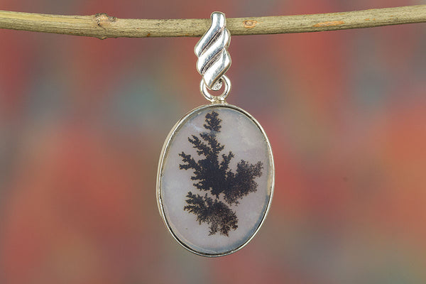 Scenic Dendritic Opal Gemstone Sterling Silver Pendant