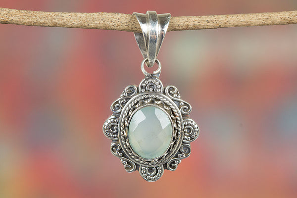 Stunning Faceted Aqua Chalcedony Gemstone Silver Pendant