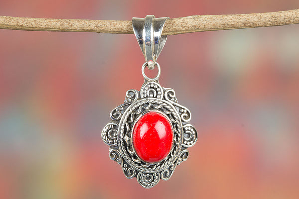 Stunning Coral Gemstone Silver Pendant