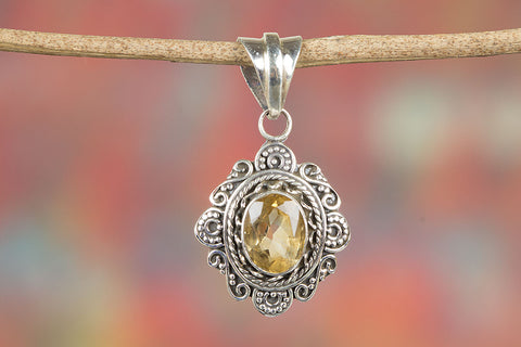 Stunning Faceted Citrine Gemstone Silver Pendant