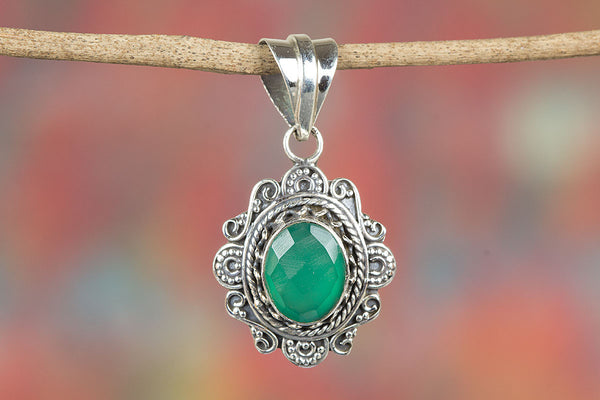 Stunning Faceted Green onyx Gemstone Silver Pendant