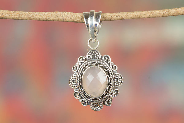 Stunning Faceted Rose Quartz Gemstone Silver Pendant