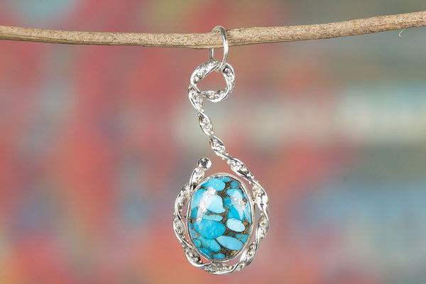 Stunning Blue Copper Turquoise Gemstone Silver Pendant