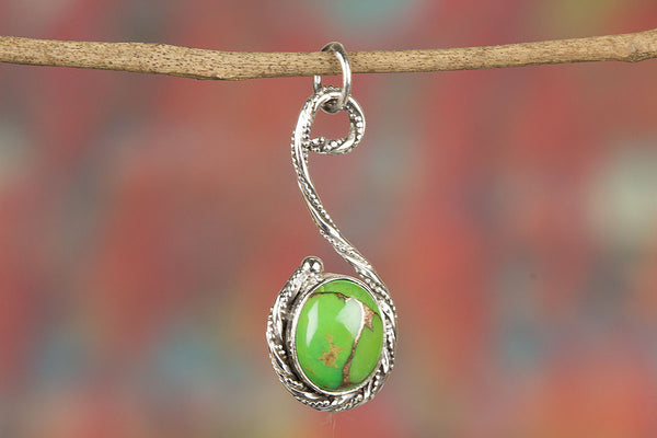 Stunning Green Turquoise Gemstone Sterling Silver Pendant