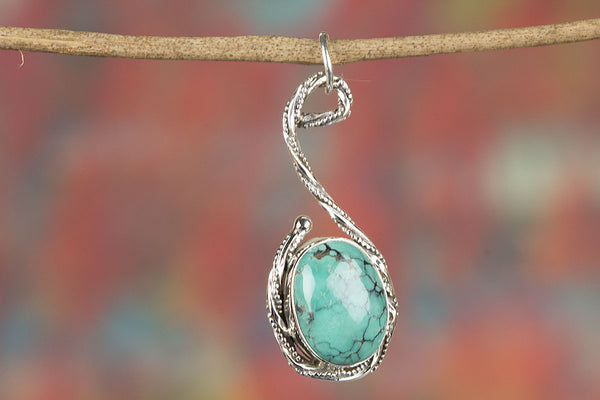 Stunning Natural Turquoise Gemstone Sterling Silver Pendant