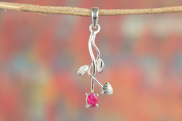 Stunning Ruby Gemstone & Leaf Shape Sterling Silver Pendant