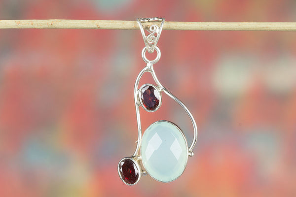 Faceted Aqua Chalcedony Gemstone Sterling Silver Pendant,