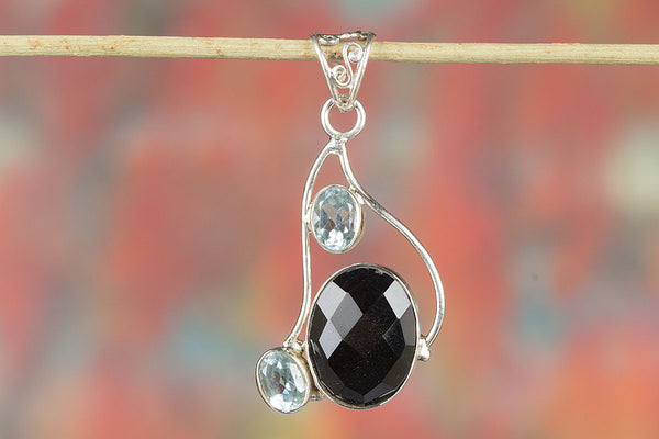 Faceted Black Onyx Gemstone Silver Pendant,