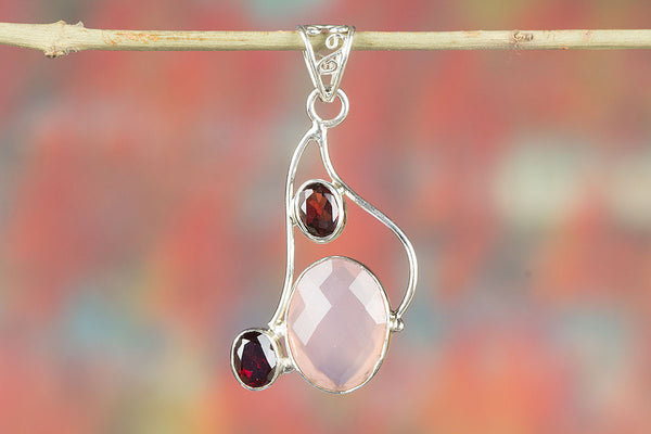 Wonderful Faceted Rose Quartz Gemstone Silver Pendant